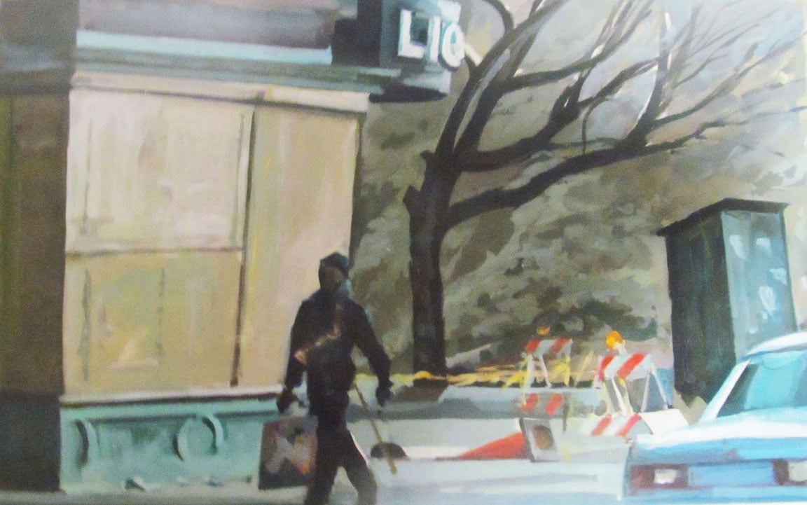 """Future Site (Mt. Barry),acrylic on paper,18 1/2"""" x 30 1/2"""", 1990, Private Collection"""