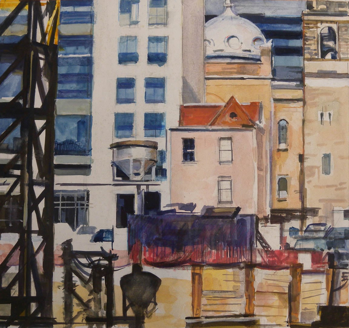 """Dome and Construction,watercolor on paper,13"""" x 14"""" Phillips Collection, DC"""