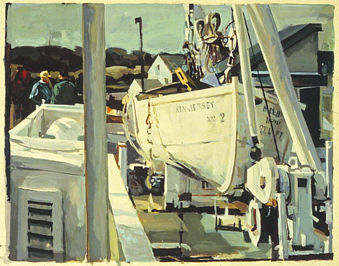 "Upper Deck, Lewes, DE, acrylic on paper, 25 1/4"" x 34"", 1993, Private Collection"