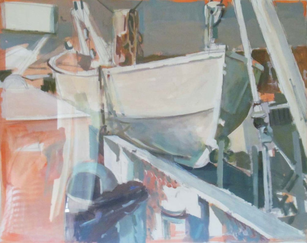 "Upper Deck, Ferry, acrylic on paper, 26 1/4"" x 34"" Private Collection"
