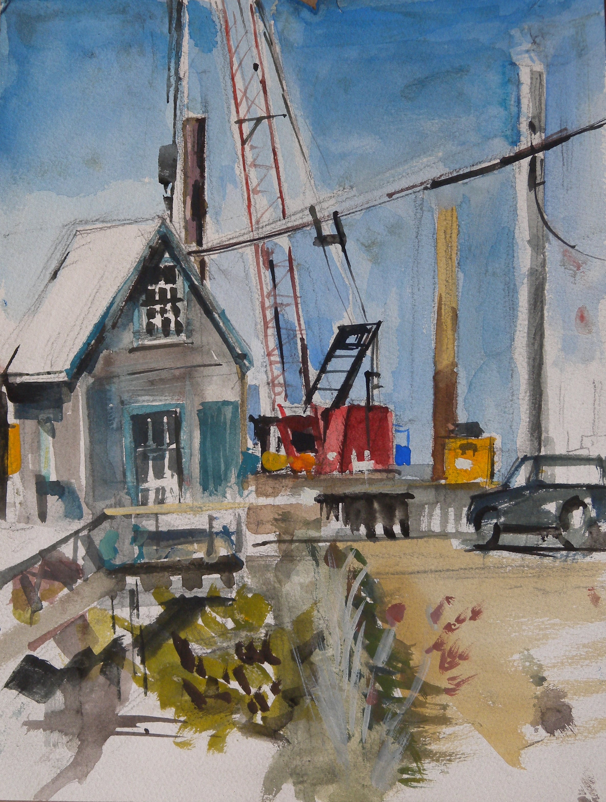 "Red Crane at Menemsha, watercolor on paper, 12"" x 9"""