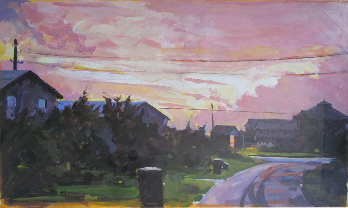 "NC Sunset, acrylic on paper, 23 1/2"" x 40"", 1993,  Private Collection"