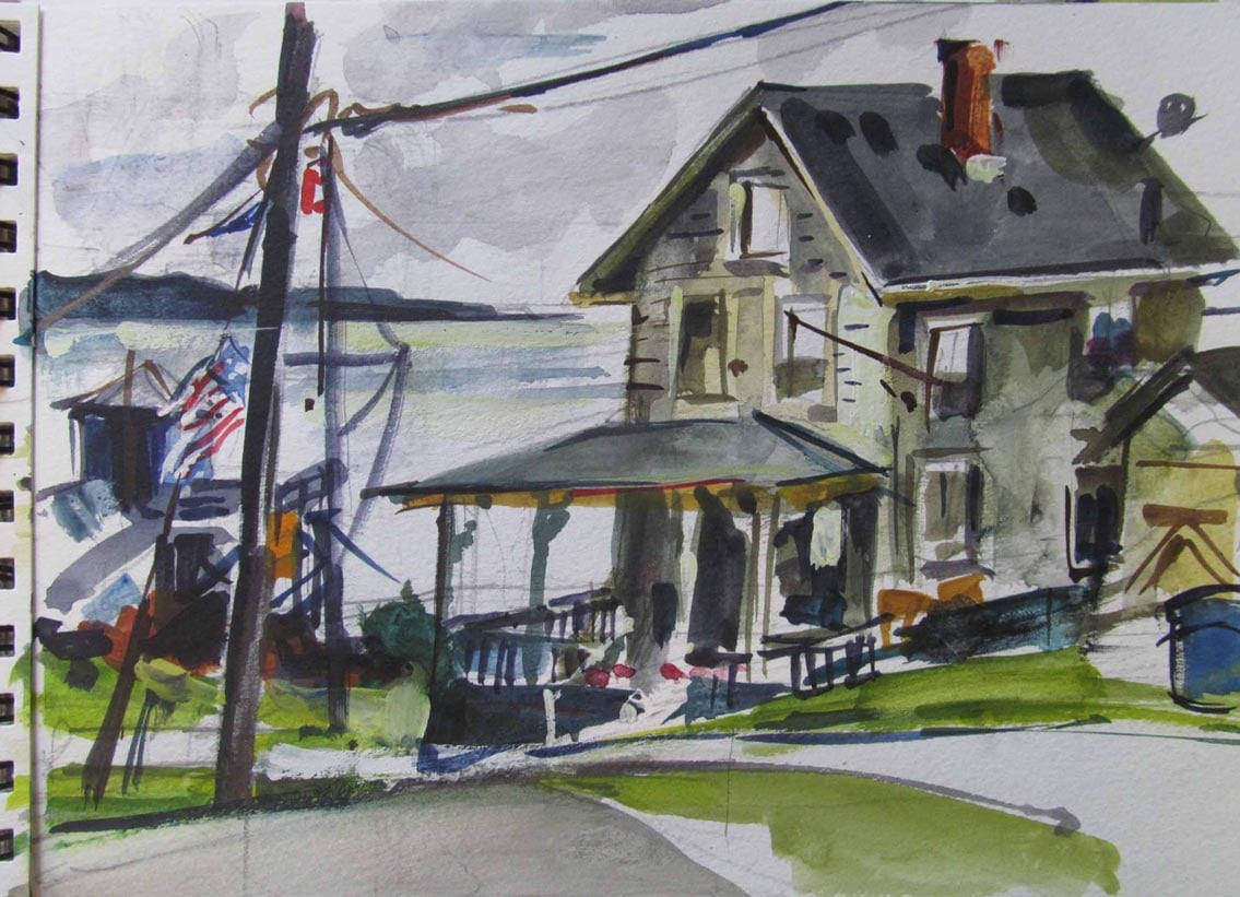 "Northport Yacht Club, watercolor on paper. 7"" x 9 1/2"",   Private Collection"