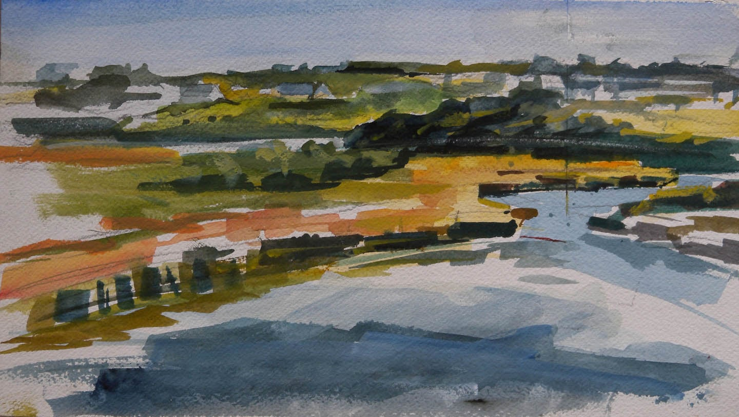 "Salt Pond View, watercolor on paper, 6 3/4"" x 12"""