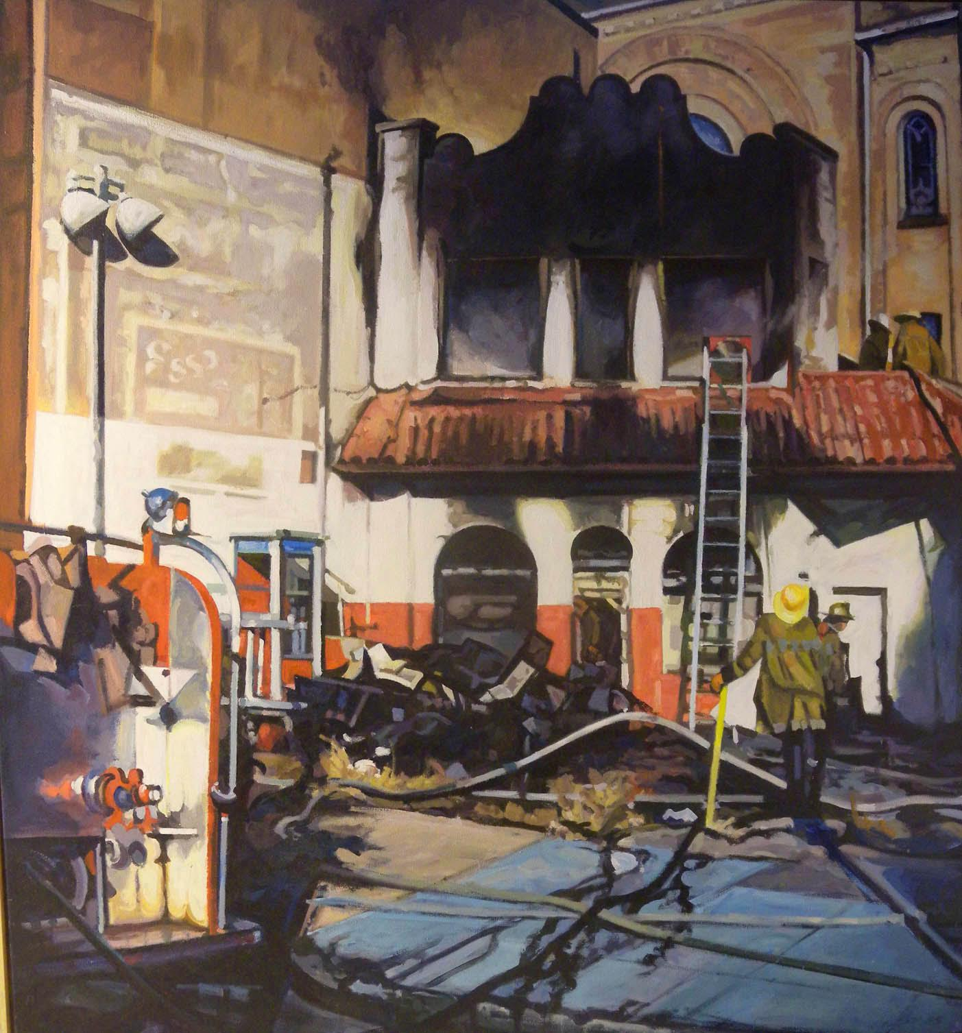 "Exxon's Last Stand, acrylic on canvas, 60"" x 60"", 1987                Smithsonian American Art Museum Collection"