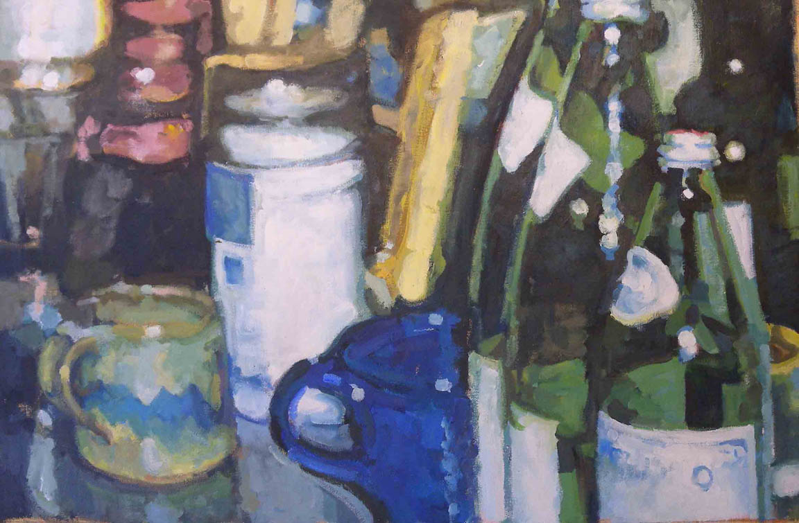 "Still Life Mugs & Water Bottle,acrylic on canvas, 26 1/4"" x 40 1/4"""