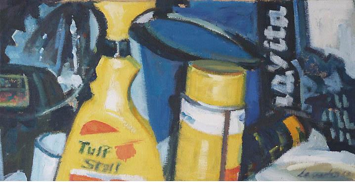 "Tuff Stuff,acrylic on canvas,12 1/2"" x 24"", 2002"