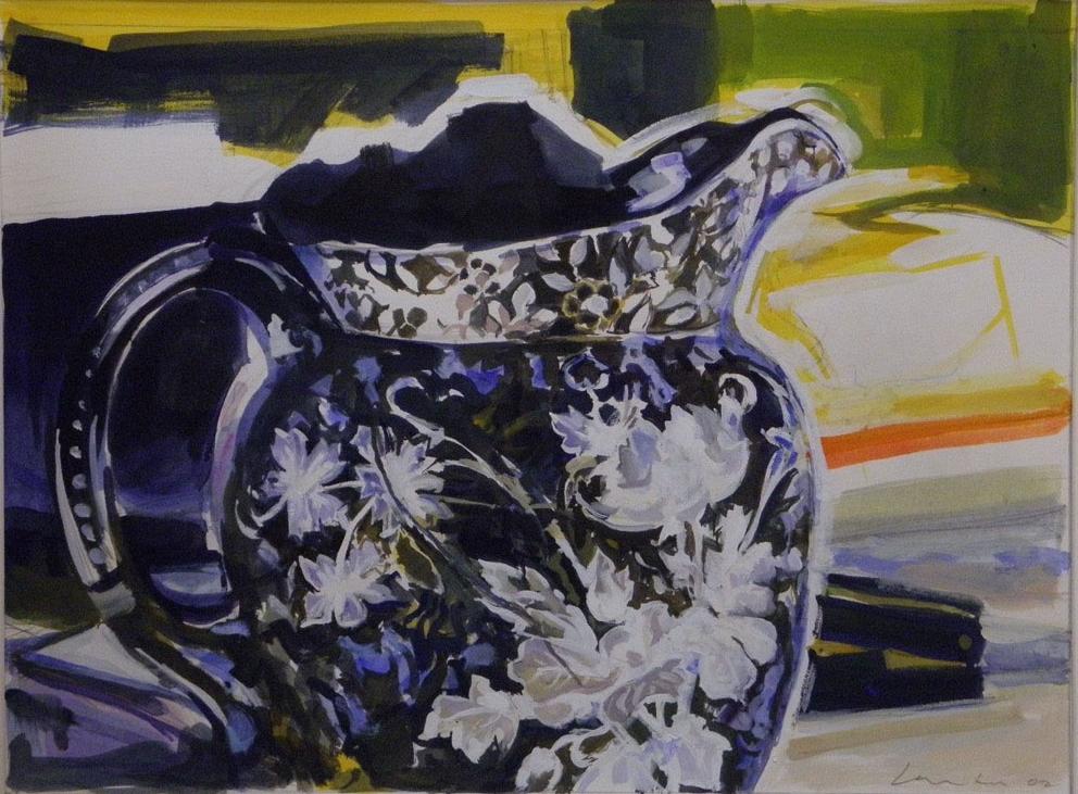 "Anacostia Water Pitcher (blue), watercolor & gouache, 16"" x 24"", 2002"