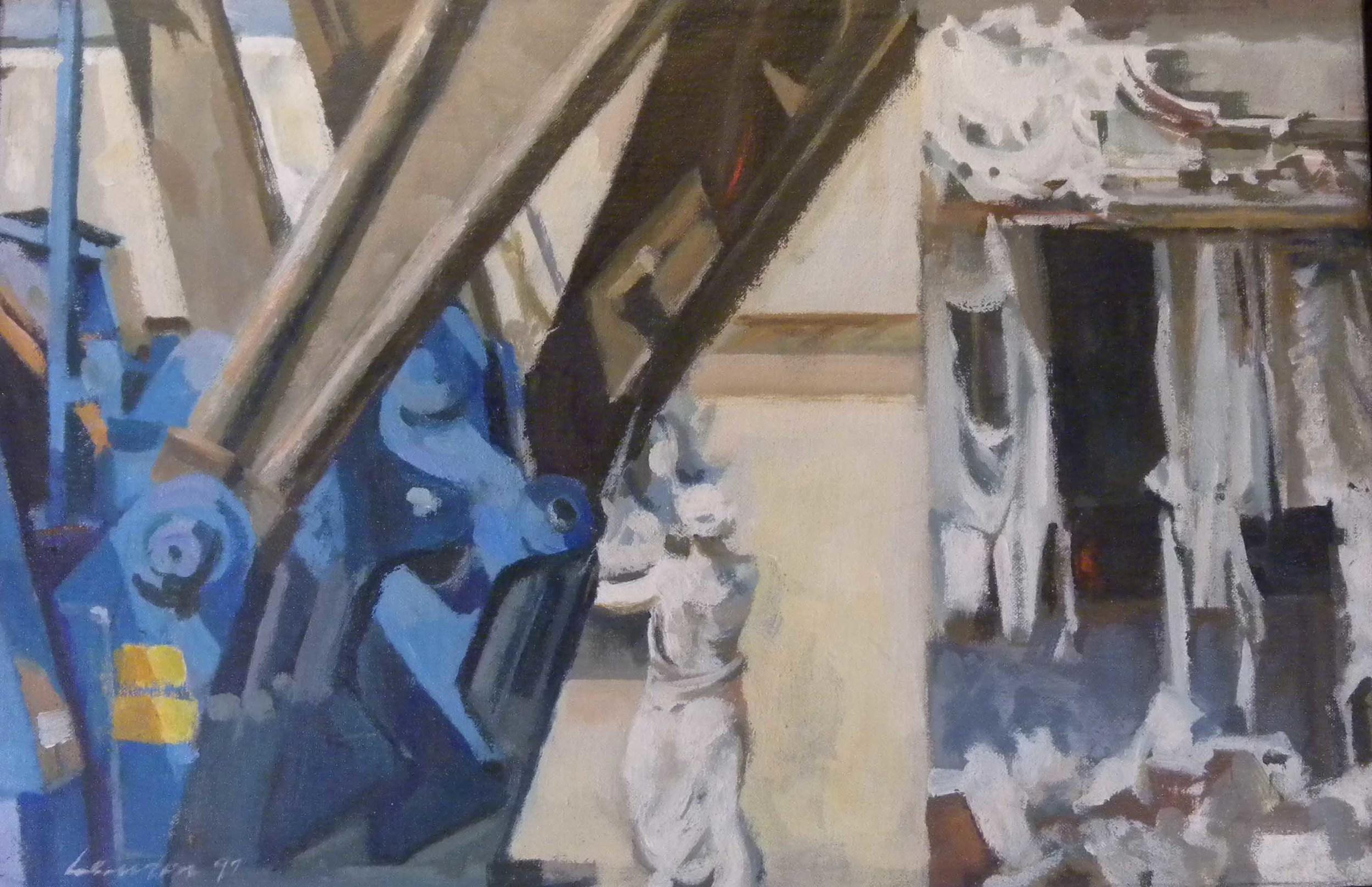 "Maiden & Demolition,acrylic on canvas,11 1/2"" x 29 1/2"""