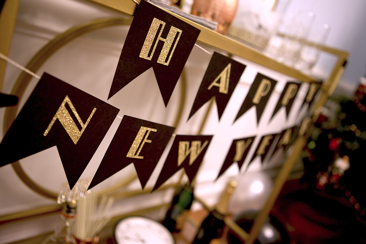 "Art deco ""Happy New Year"" banner made by me!"