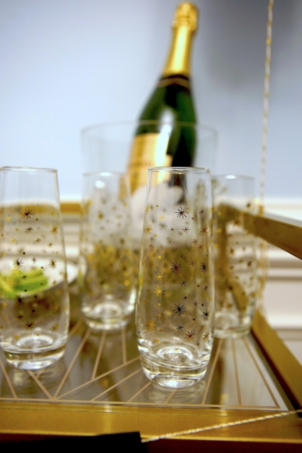 Stemless champagne flutes from Marshalls. Champagne bucket from Homegoods.