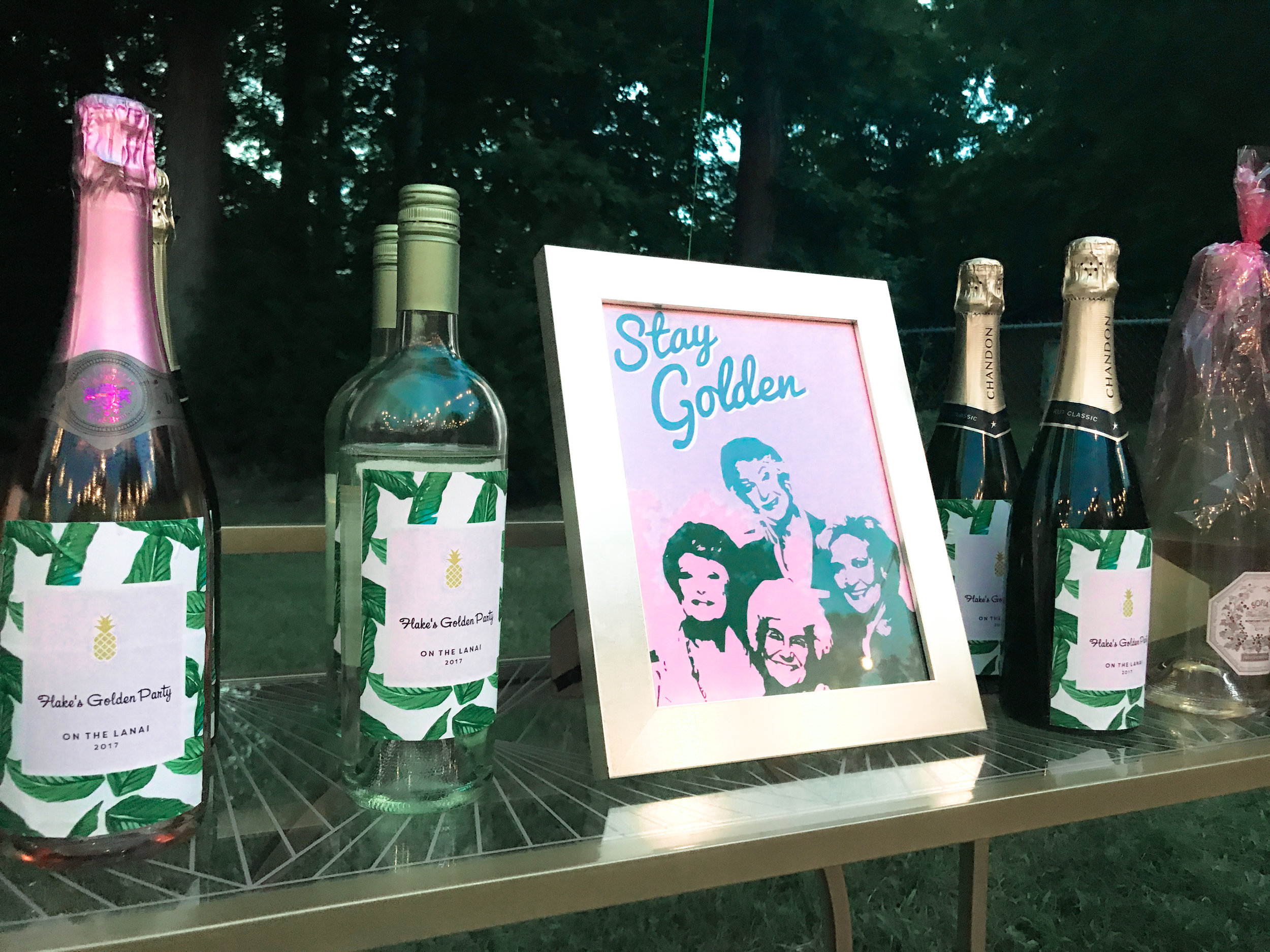 The wine bottle labels are from  HHPaperCo  and the Stay Golden printable is from  ClaresPrintables  (both are Etsy shops). I put the printable in a frame from  Michael's  and I can't wait to use it on a gallery wall in my office!