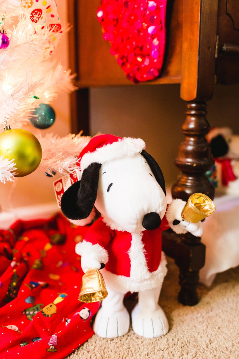 I love Charlie Brown and a few of the Hallmark stuffed animals I have are from Peanuts. I had previously used Peanuts fabric as a tree skirt and since I went in a new direction this year with the traditional tree, the Peanuts ornaments and tree skirt were moved to Bella's tree.