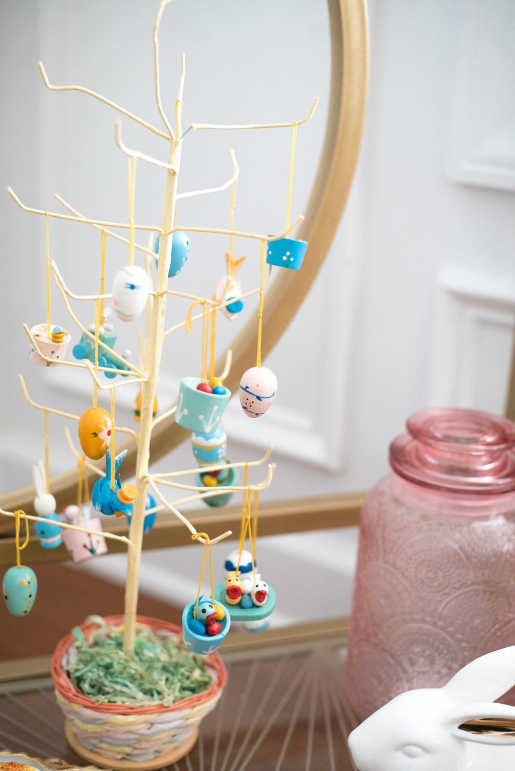 Kendall brought this vintage Easter tree home from his grandparents' house, still in its original packaging. If you've followed me a while you know I love mixing the old with the new! (That canister in the back is from the Target Dollar Spot and the print reminded me of doilies!)