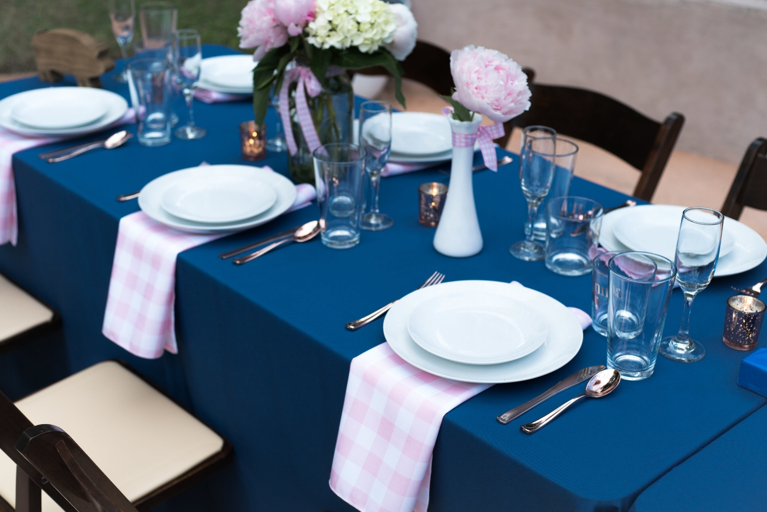 Navy and Pink Gingham Table