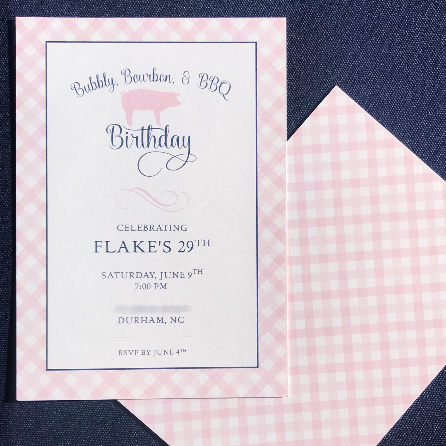 Pink Gingham Invite