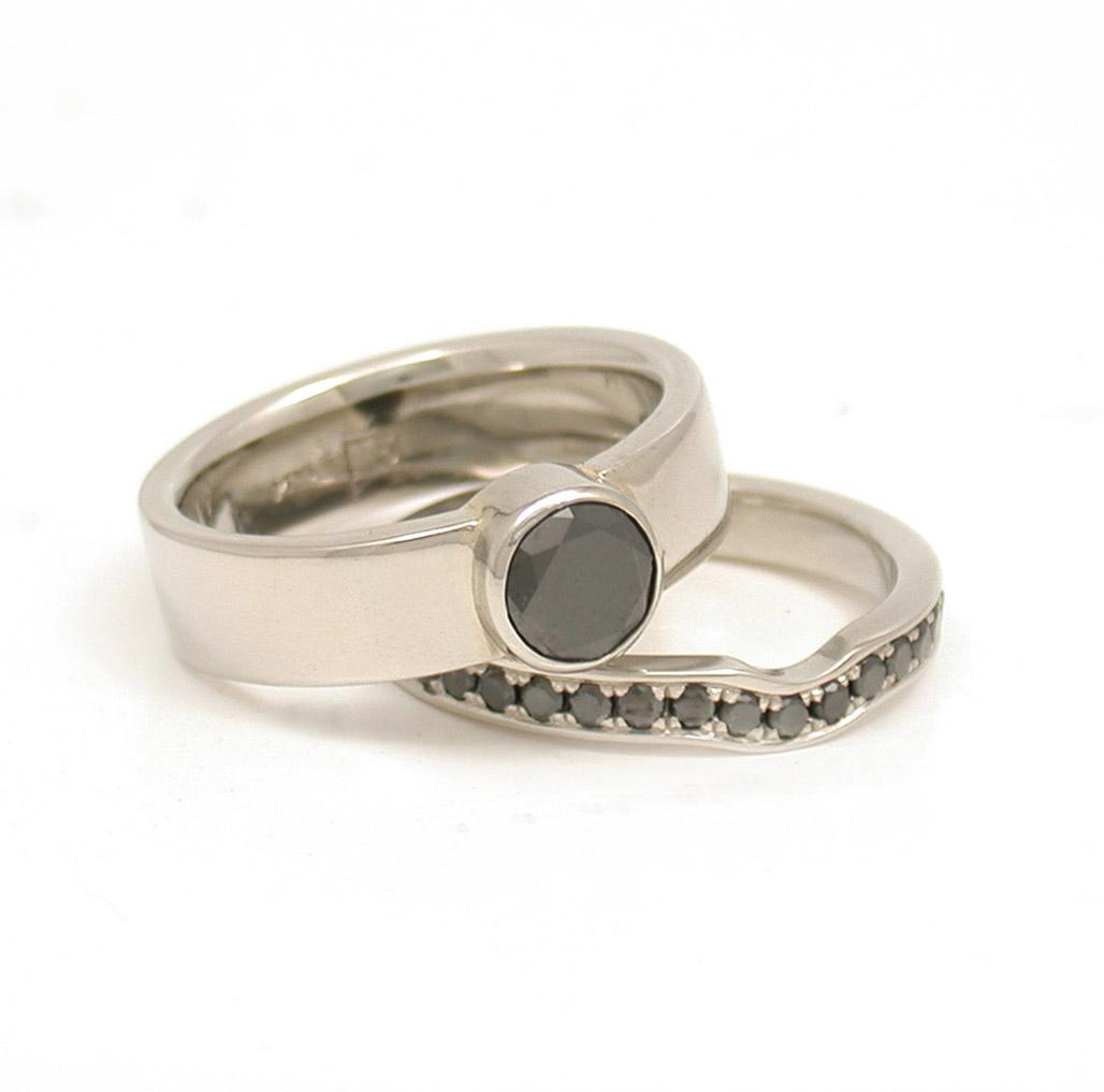 Black Diamond Bezel Ring + Interlocking Pave Eternity Band