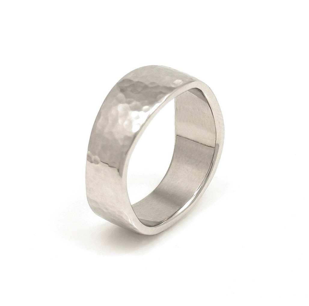 Double Wave Edge Hammered Wedding Band