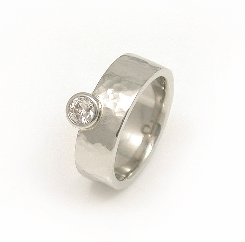 Off-Side Diamond Hammered Solitaire