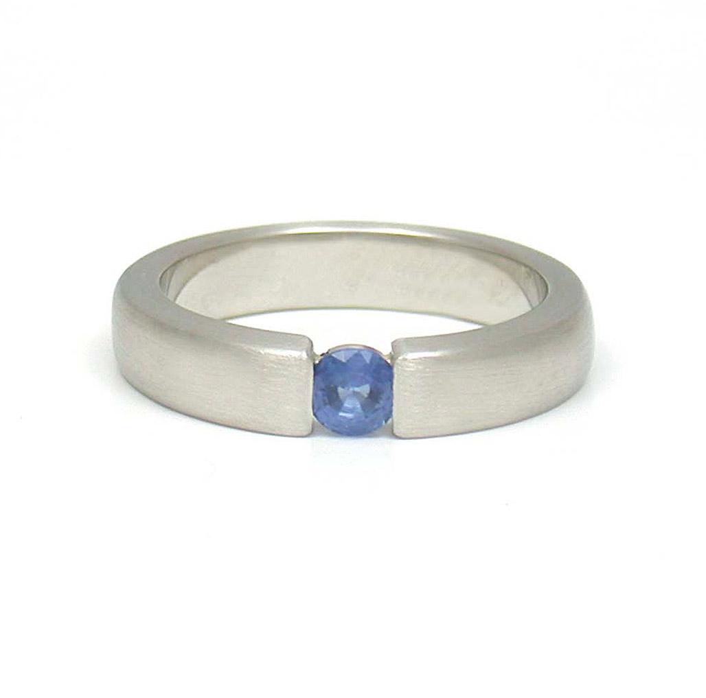 Blue Sapphire Faux Tension Solitaire