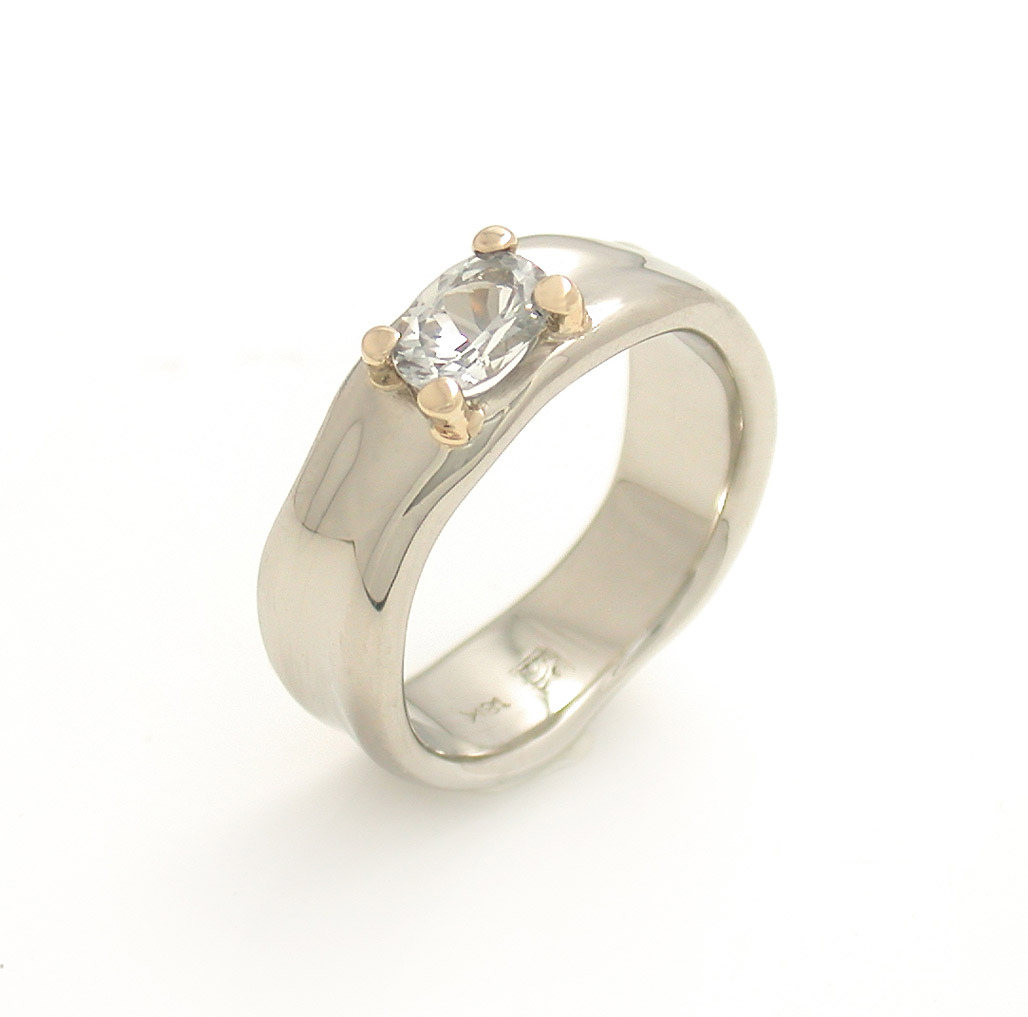 Hill + Valley Ring w/Prong Setting