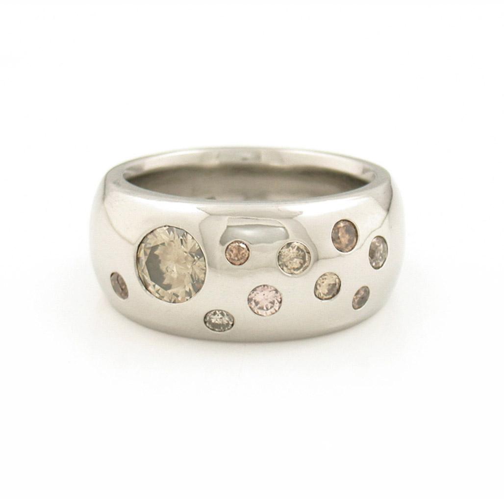 Pale Diamond Studded Ring