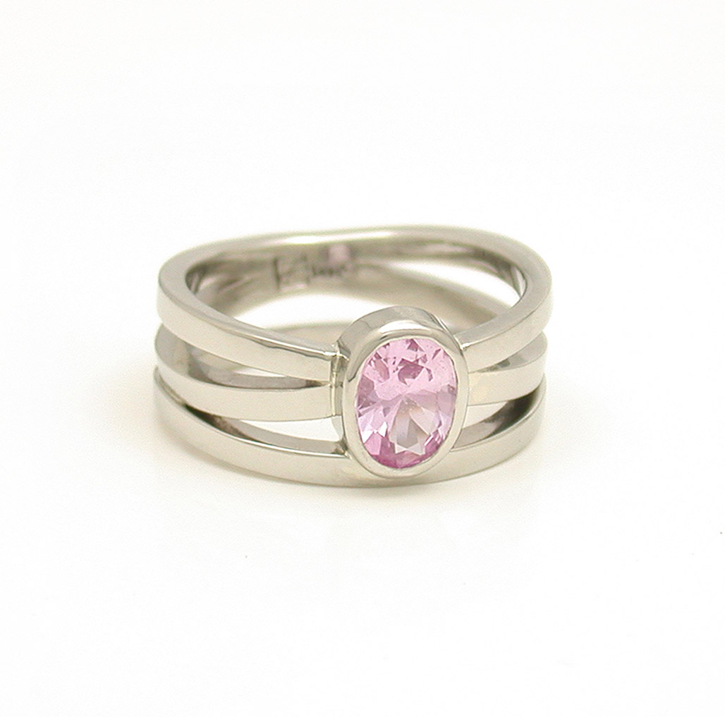 Pink Sapphire Triple Wave Ring
