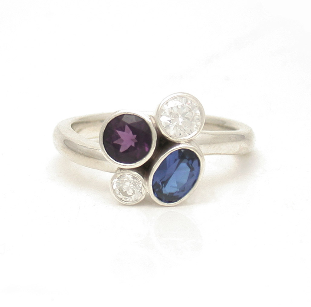 Bezel Cluster Sapphire Diamond Ring