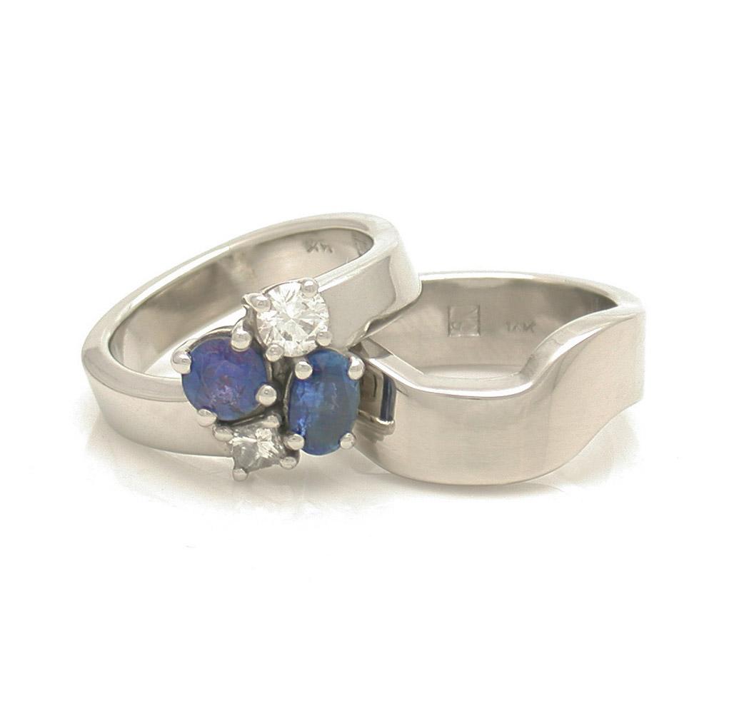 Diamond & Sapphire Cluster Engagement Ring + Interlocking Wedding Band