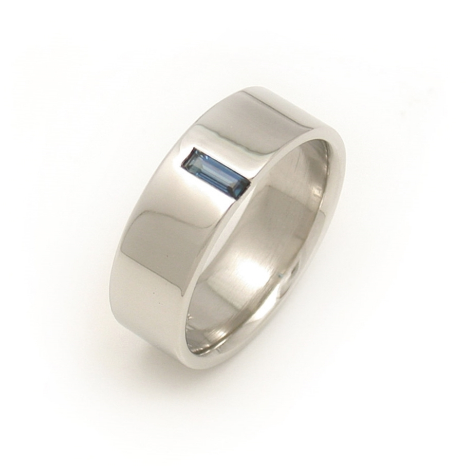 Off-Side Sapphire Baguette Wedding Band