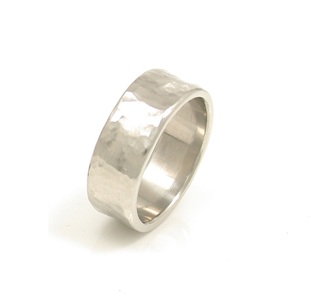 Concave Hammered Wedding Band