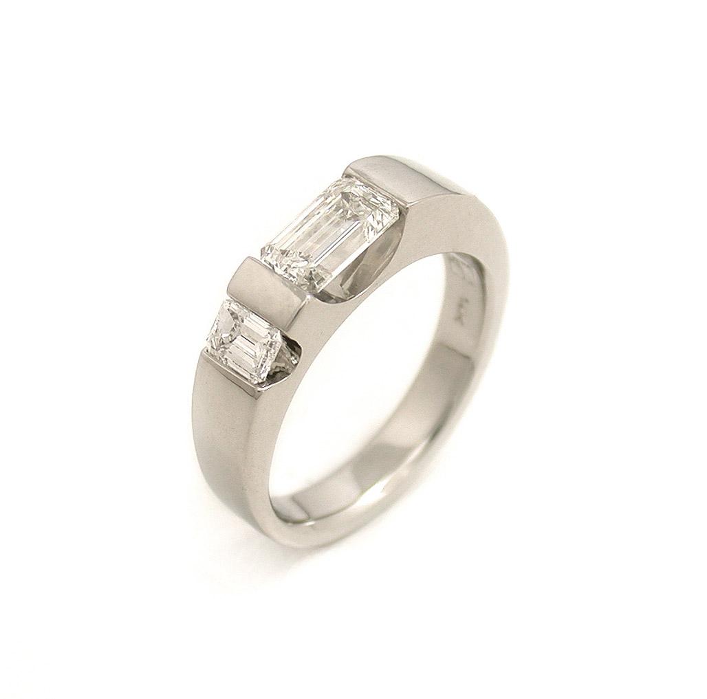 The Emerald + Baguette Diamond Duo Ring