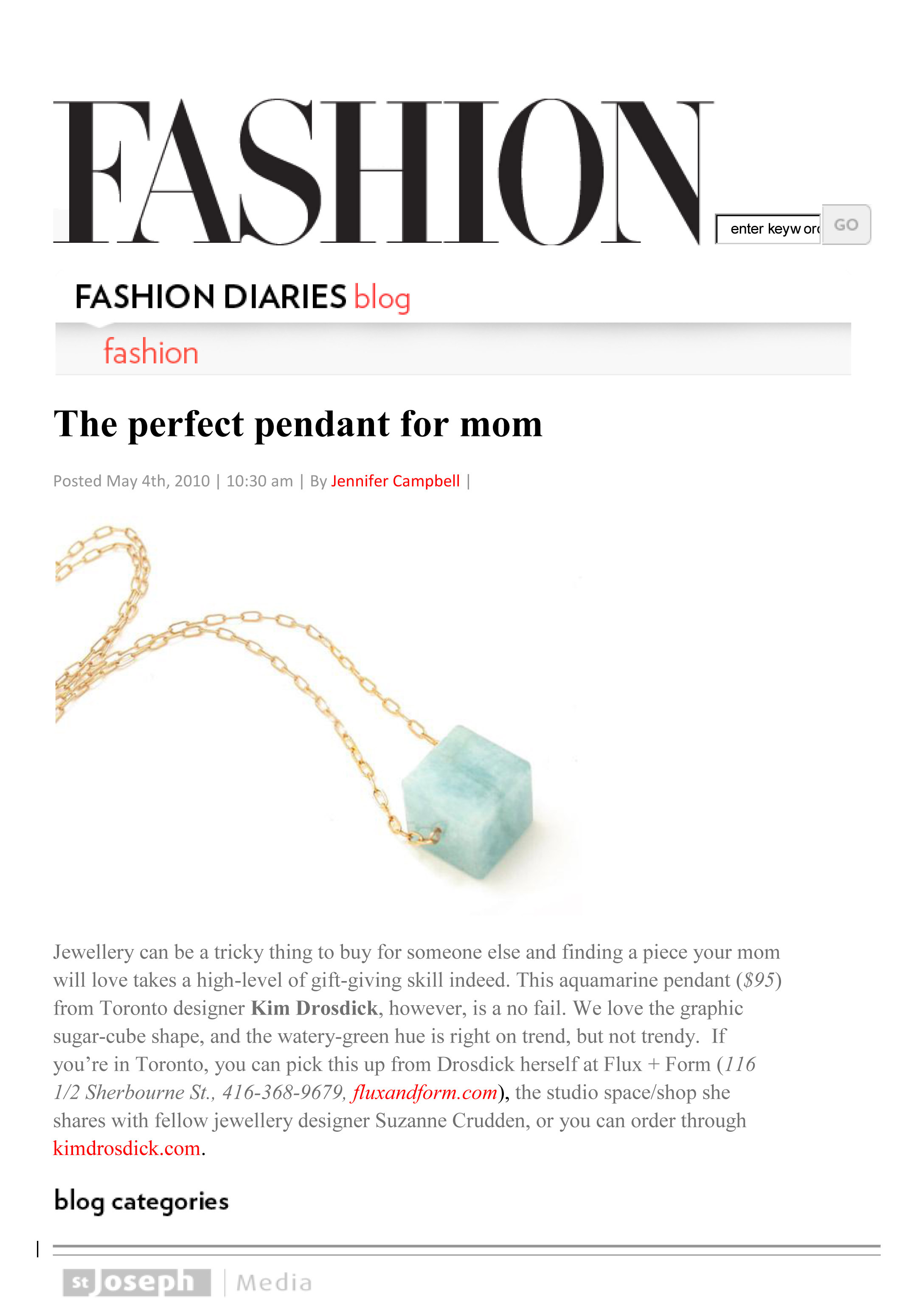 FASHION Magazine Blog - May 2010 - Kim's Aqua Cube Necklace is featured as 'The Perfect Pendant for Mom'