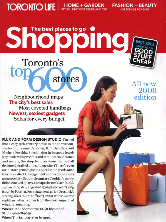 TORONTO LIFE SHOPPING GUIDE - 2008 - flux + form was listed as one of Toronto's 600 top shops!