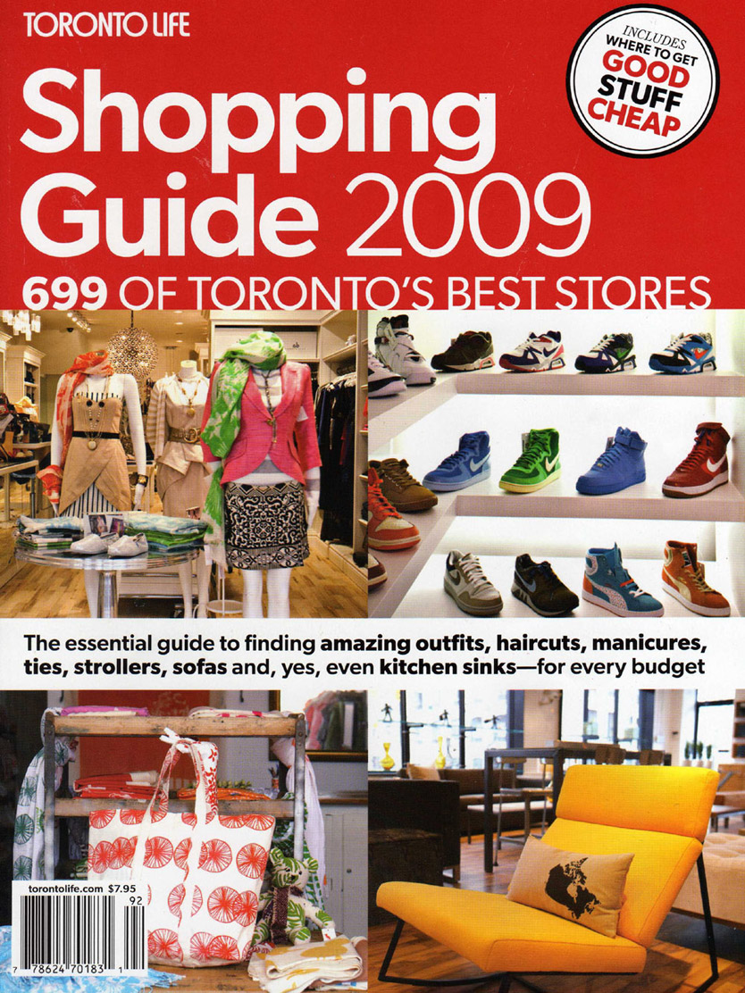 TORONTO LIFE SHOPPING GUIDE - 2009 - flux + form was listed as one of Toronto's 600 top shops!