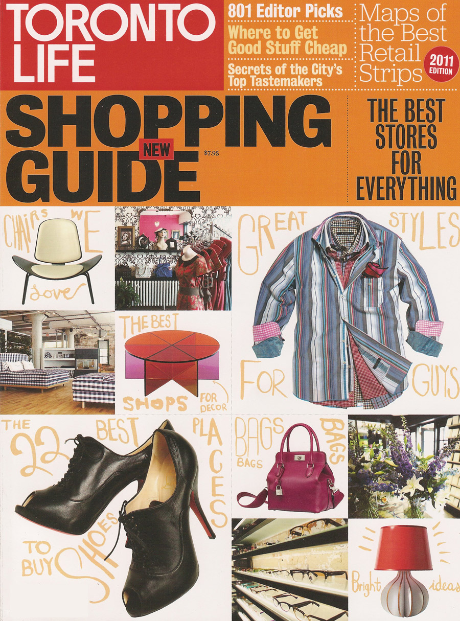 TORONTO LIFE SHOPPING GUIDE - 2011 - flux + form was listed as one of Toronto's top shops.