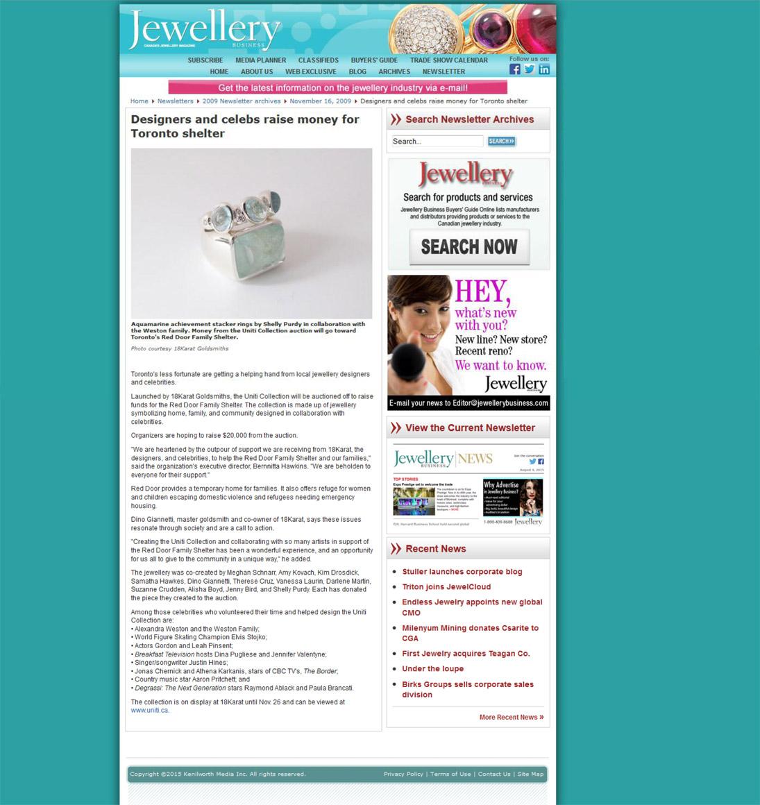 JEWELLERY BUSINESS MAGAZINE - Nov.2009 - Red Door Charity work.