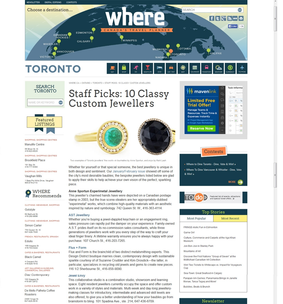 Where.ca - 2011 - flux + form makes top 10 list. Read full post   here  .
