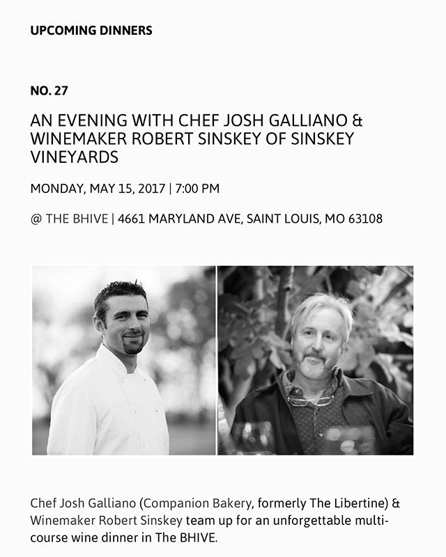 Just announced: our next @notarestaurant dinner will be with Chef Josh Galliano & Winemaker Robert Sinskey on Monday, May 15 at 7 PM. This will be a good one. 🍷🍥🥘