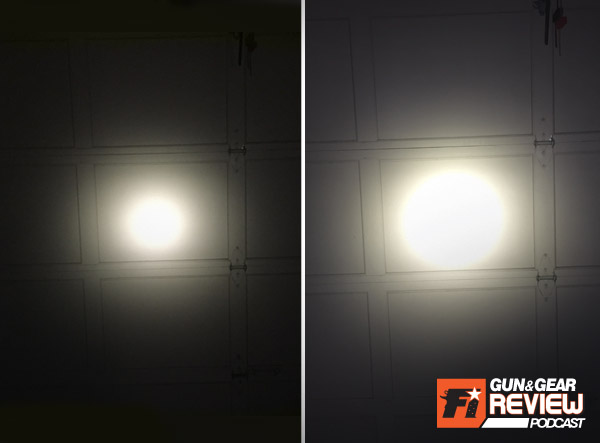 Shown on the left is the 15 lumen low setting, and the 320 lumen high setting on the right.