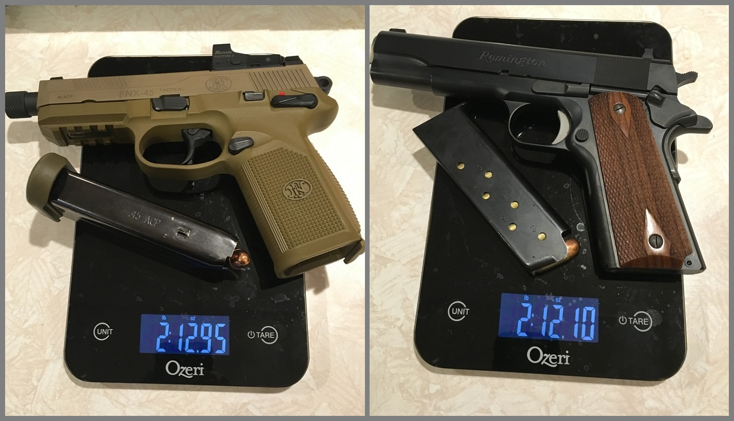 You can see the comparison in weight between the fully loaded FNX 45 Tactical and a GI style 1911 pistol.