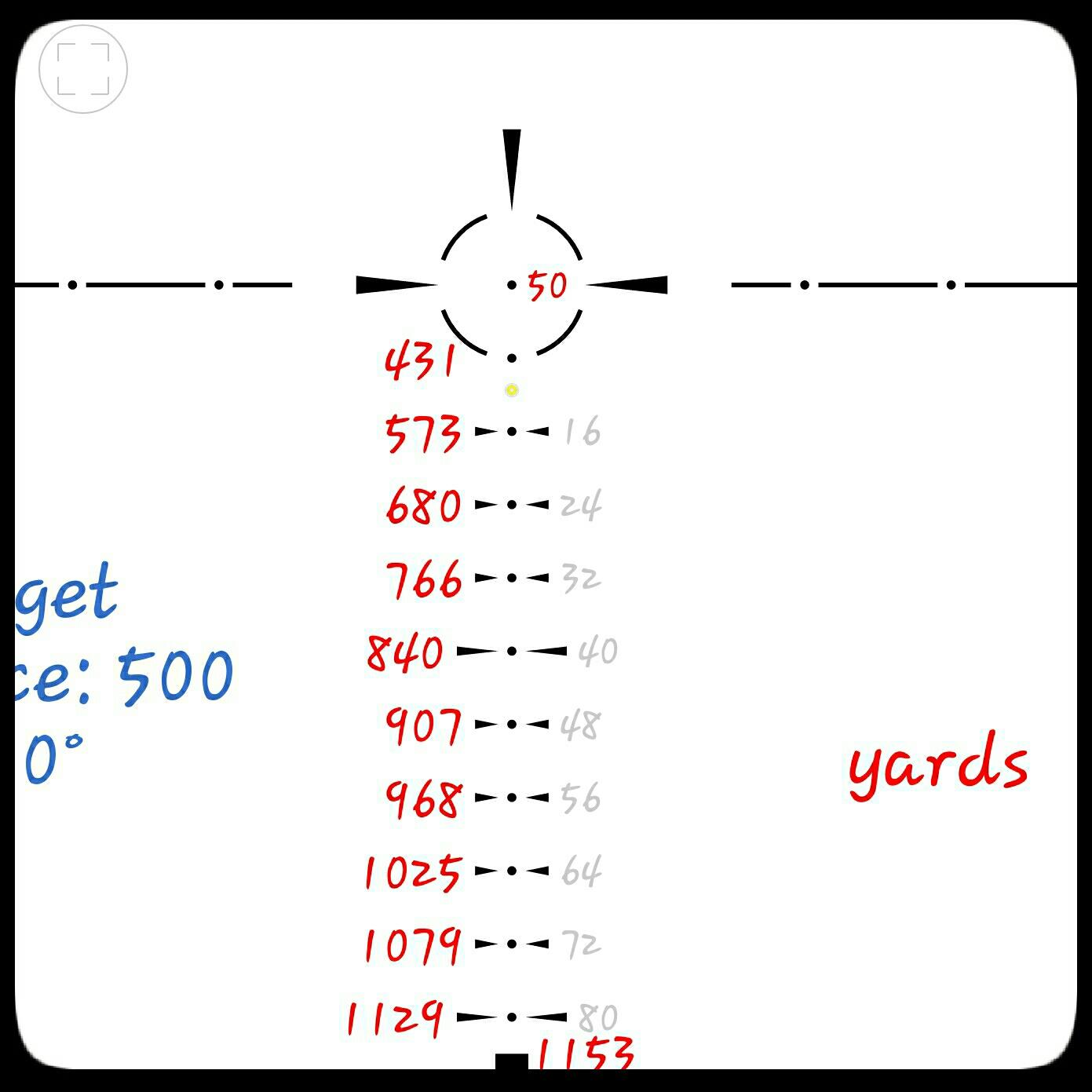 Standard 5.56 55gr. 50yd zero at 6x