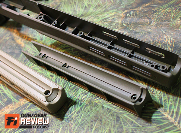 Remove the tray by gently prying from the action area, or pushing up from the MLOK slots.