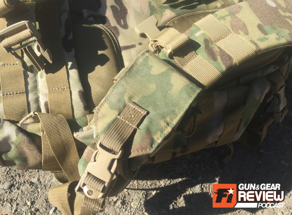 The MOLLE loops on the shoulder pads allow for customization of pouches that can be accessed on the go while strapped into the RUSH. I used this radio pouch to hold my cell phone.