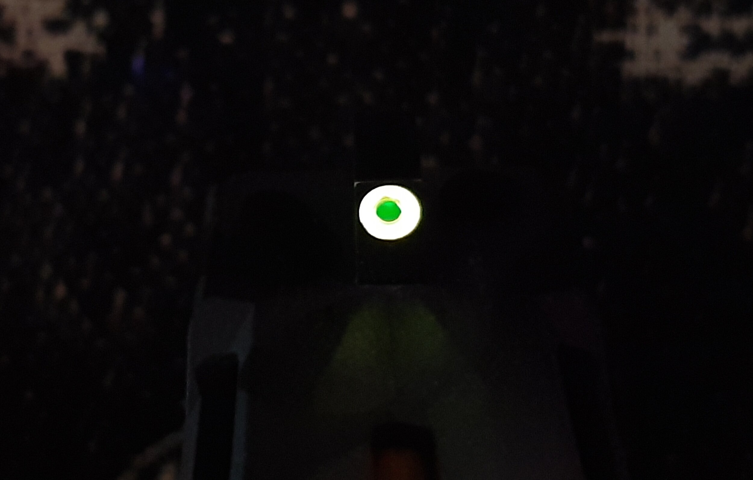 After shining flashlight on front sight (photoluminescent glow)