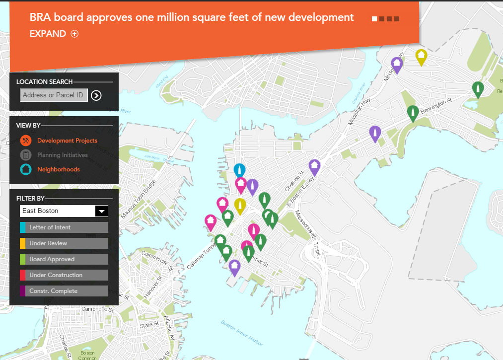 Above: image from the boston redevelopment authority detailing the numerous projects in the pipeline for the neighborhood of east boston