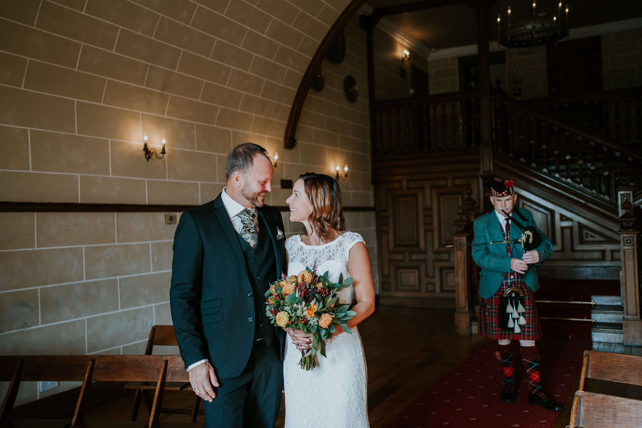 Wedding ceremony at Dalhousie castle.