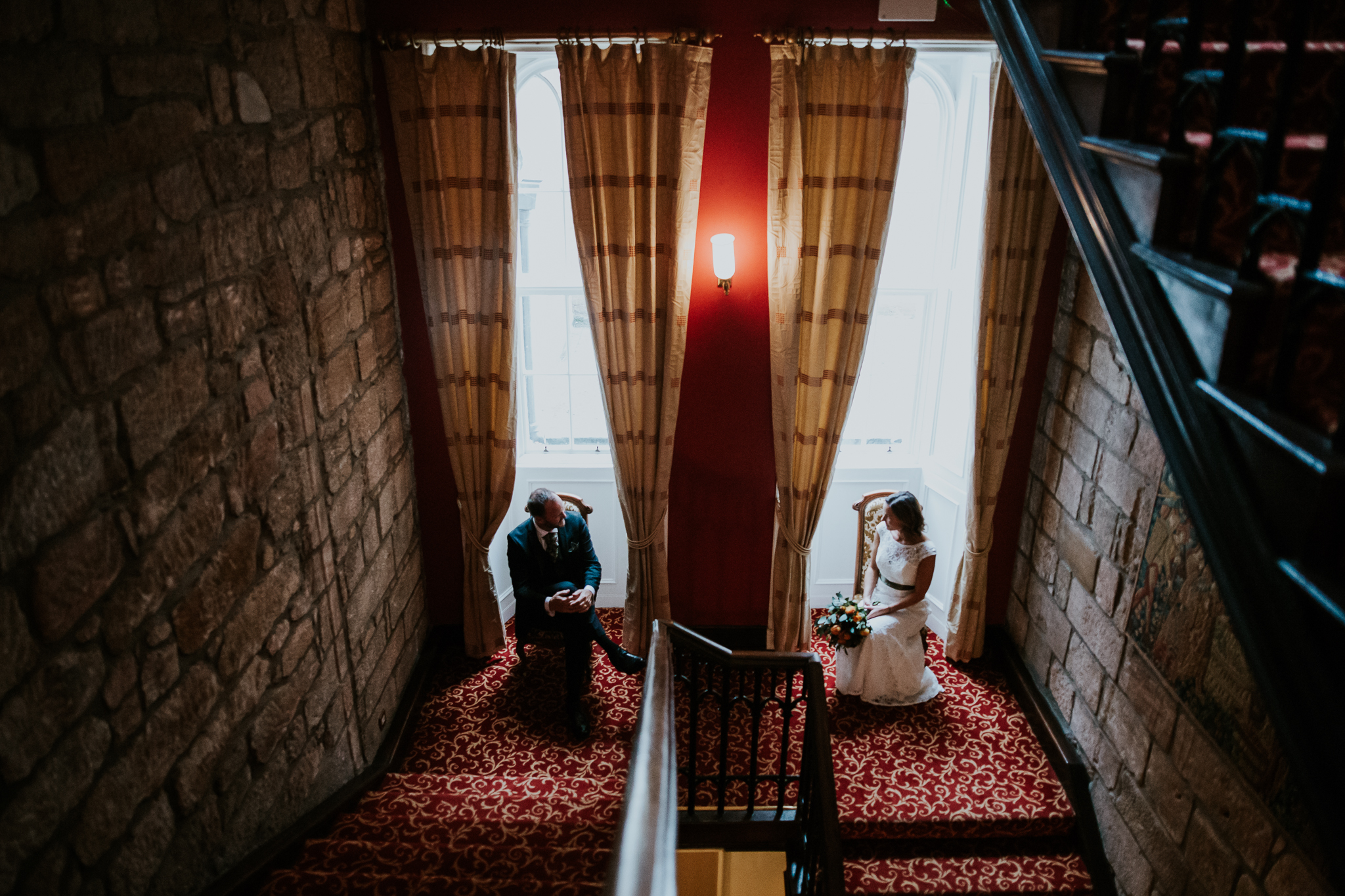 Bride and groom at the Dalhousie castle.