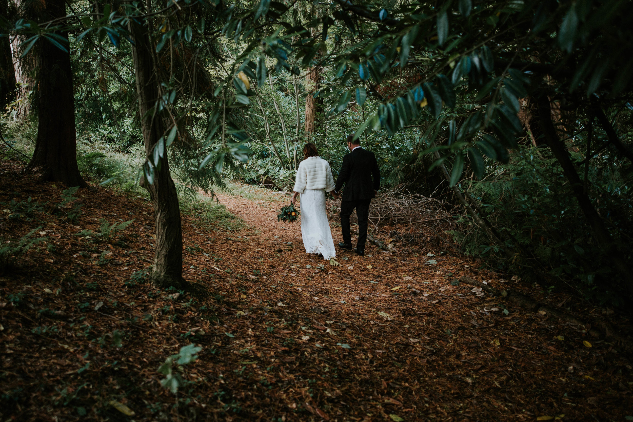 Bride and groom a romantic walk in the forest.