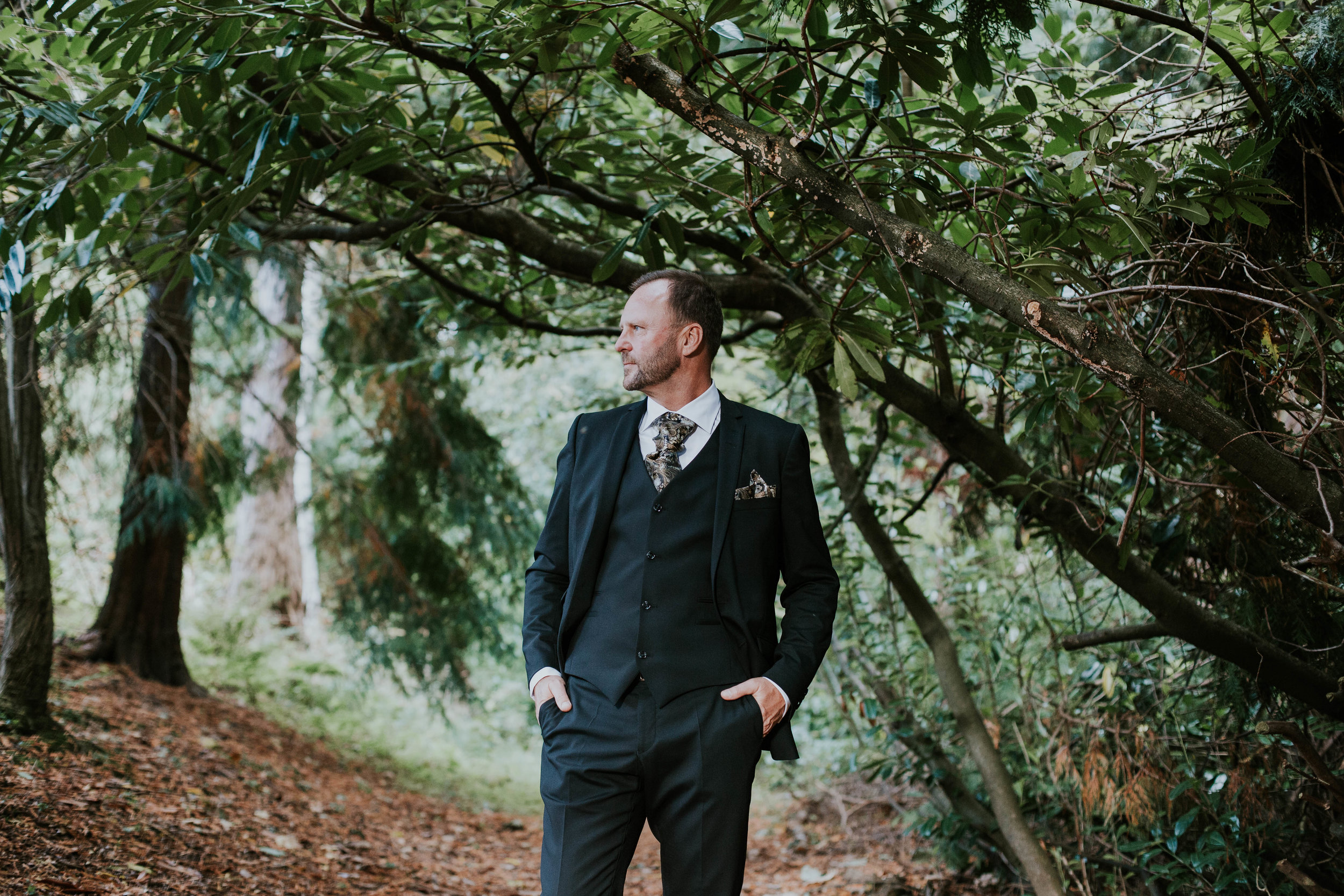 Groom portrait at the Dalhousie castle.
